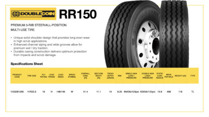 DoubleCoin RR150 Specifications Sheet