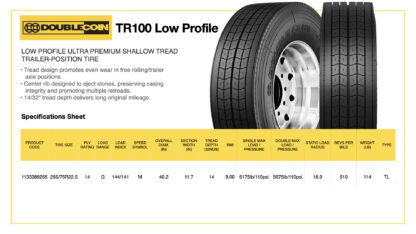 DoubleCoin TR100 Low Profile Specifications Sheet