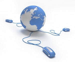World connection in blue