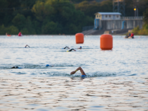 Look for buoys or landmarks to help you sight while on the swim course