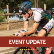 """Image of cyclist during the Kerrville Triathlon Festival. Graphic contains the phrase """"event update"""" and announces that 2020 Kerrville Triathlon is canceled."""