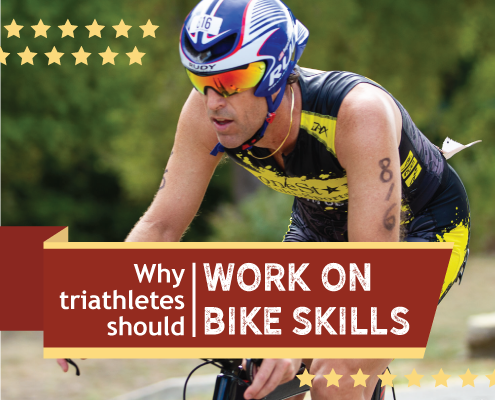 Cyclist rides during the Kerrville Triathlon. Text on design reads Why Triathletes Should Work on Bike Skills. Read more at https://kerrvilletri.com/2020/12/work-on-bike-skills/