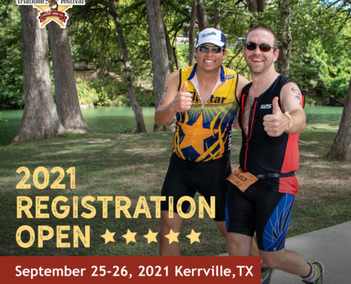 Two male triathletes give a thumbs up for the camera during the Kerrville Triathlon. Text on design reads 2021 Kerrville Triathlon Registration Open. Read more at https://kerrvilletri.com/2021/01/2021-kerrville-triathlon-festival/