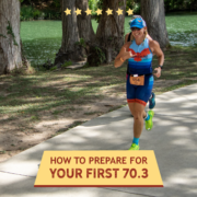 Woman runs on a path next to the Guadalupe River during the Kerrville Triathlon. Text on design reads How to Prepare for Your First 70.3 Triathlon. Read more at https://kerrvilletri.com/2021/01/first-703-distance-triathlon/