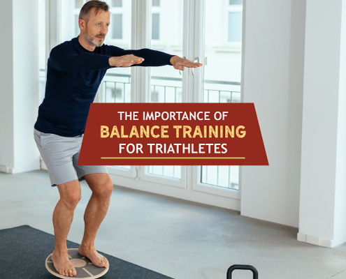 Man holds a squat pose. Text on design reads The Importance of Balance Training for Triathletes. Learn more at https://kerrvilletri.com/2021/01/balance-training/