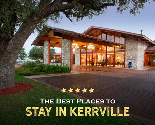 Image of Inn of the Hills in Kerrville, Texas, at dusk. It's the Kerrville Triathlon host hotel and top of the list for best Kerrville lodging for triathletes. Learn more and secure your rate today at https://kerrvilletri.com/2021/07/kerrville-lodging-for-triathletes/