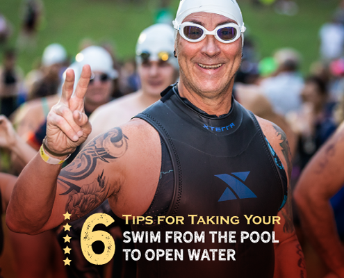 Triathlete shows the peace sign to the camera before he swims in Nimitz Lake at Kerrville Triathlon. He's in a sleeveless wetsuit with his swim goggles and swim cap. Text on design reads 6 Tips on Taking Your Swim from the Pool to Open Water. Read more at https://kerrvilletri.com/2021/07/from-the-pool-to-open-water/