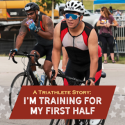 Maximiliano leaves transition on his bike during a sprint triathlon. Text on design reads A Triathlete Story: I'm Training for My First Half. Maximiliano talks about training for his first half distance triathlon. Read more at *link in bio*