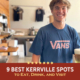 A bartender at Pint and Plow smiles after pouring a beer. Text on design reads 9 Best Kerrville Spots to Eat, Drink, and Visit. Learn more at https://kerrvilletri.com/2021/08/best-kerrville-spots/