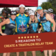 Group of 4 triathletes pose for the camera at Kerrville Triathlon. Text on design reads 5 Reasons to Create a Triathlon Relay Team. Read more at https://kerrvilletri.com/2021/08/build-triathlon-relay-team/