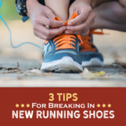 A triathlete bends down to lace up their shoes. Text on design reads 3 Tips for Breaking in New Running Shoes. Learn more at https://kerrvilletri.com/2021/09/break-in-new-running-shoes/