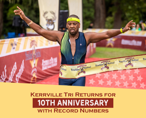 Triathlete breaks the finisher's tape at the Kerrville Tri finish line with his arms raised triumphantly in the air. Text on design reads Kerrville Tri Returns for 10th Anniversary with Record Numbers. Read more about the 10th-anniversary celebration at https://kerrvilletri.com/2021/09/10th-anniversary-celebration/
