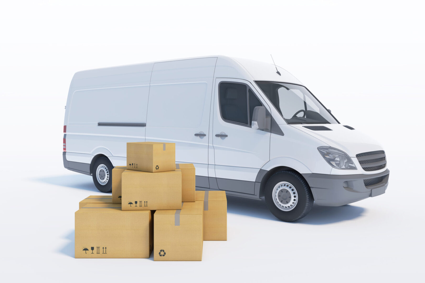 delivery van with a paper boxes on white background