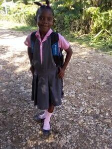 Girl getting ready for school