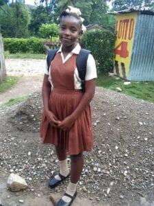 Girl in a brown uniform