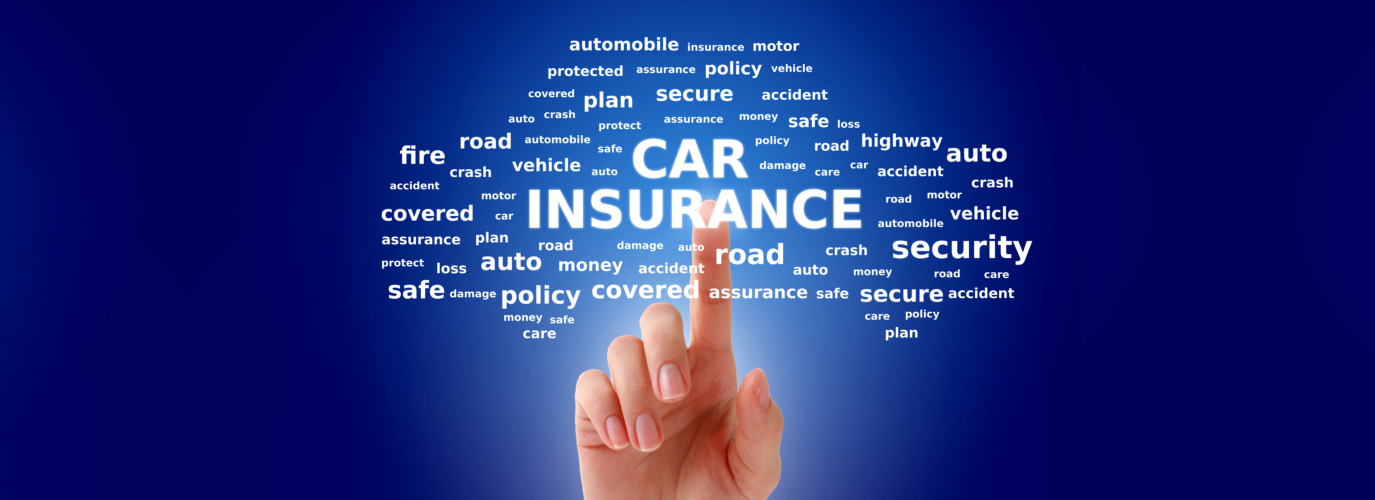 Car insurance collage. Tags cloud over blue background.
