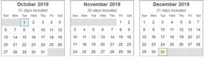 Calendar View for Letter Writing Aspirations Goal Setting 4th Quarter 2019