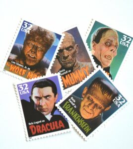 Movie Monsters Halloween Postage Stamps