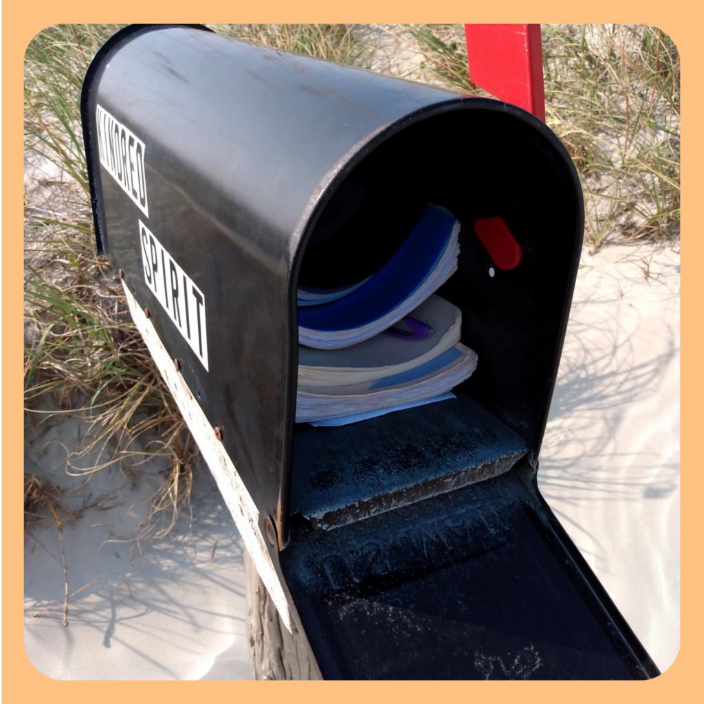 Open view of the Bird Island NC Kindred Spirit Mailbox ©AnchoredScraps