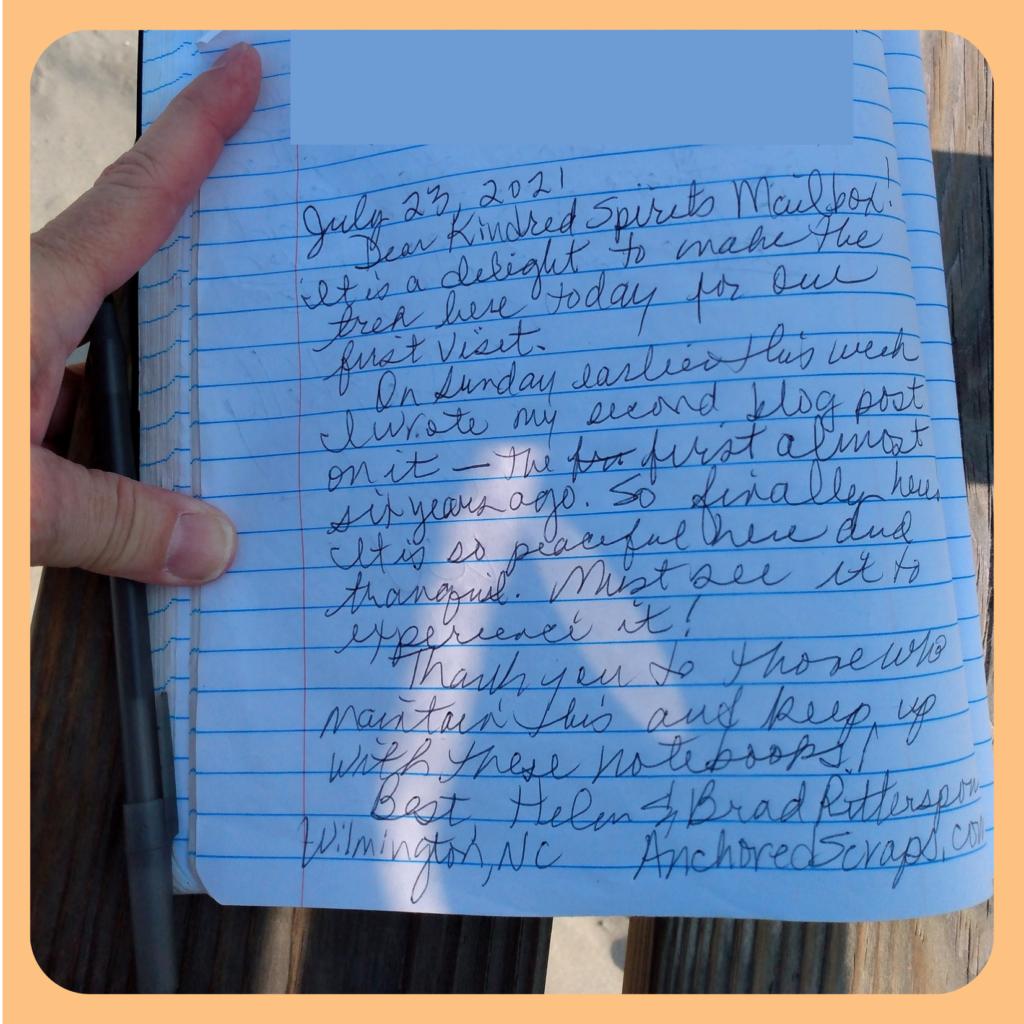 AnchoredScraps 2021July23 journal entry Bird Island NC Kindred Spirit Mailbox ©AnchoredScraps