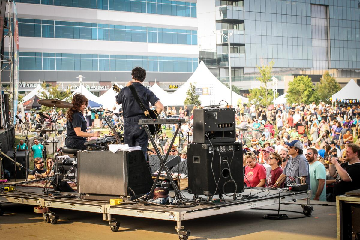Shovels & Rope performs to a massive audience at Maha Festival at Stinson Park in Omaha, Neb.
