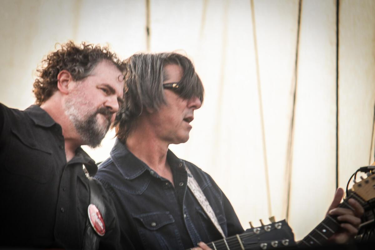Patterson Hood and Mike Cooley of Drive-By Truckers performs at Maha Festival at Stinson Park in Omaha, Neb.