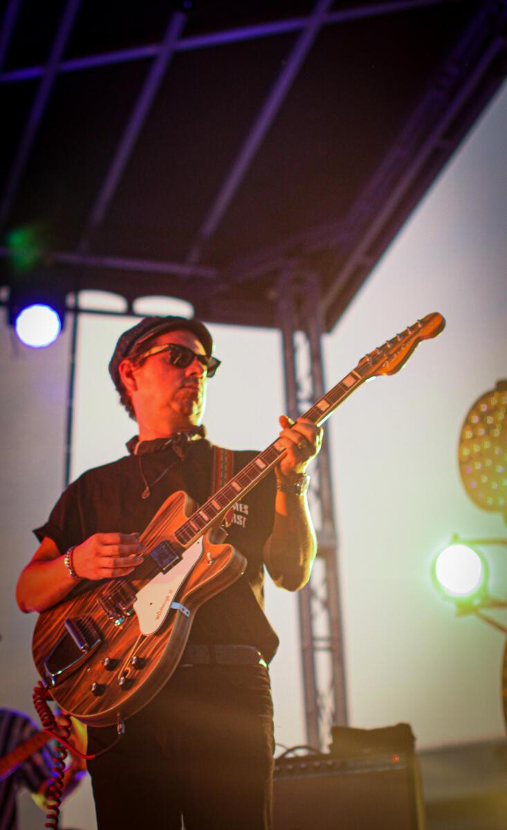 Adrian Quesada performs with Black Pumas at Waiting Room Outdoors in Omaha.