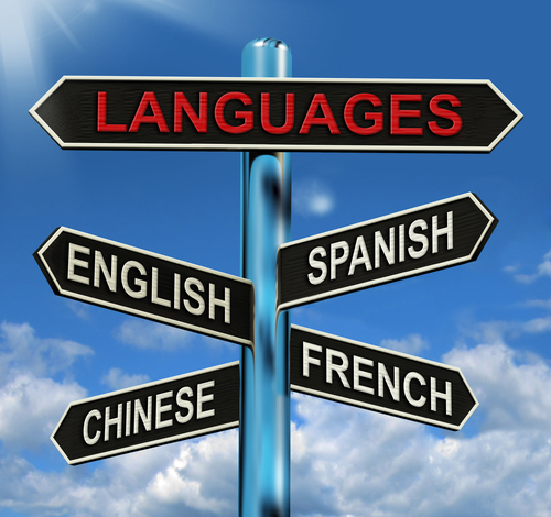 Languages Signpost Meaning English Chinese Spanish And French