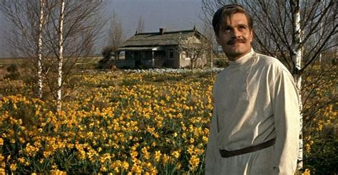 Dr. Zhivago (played by Omar Sharif) in a field of flowers