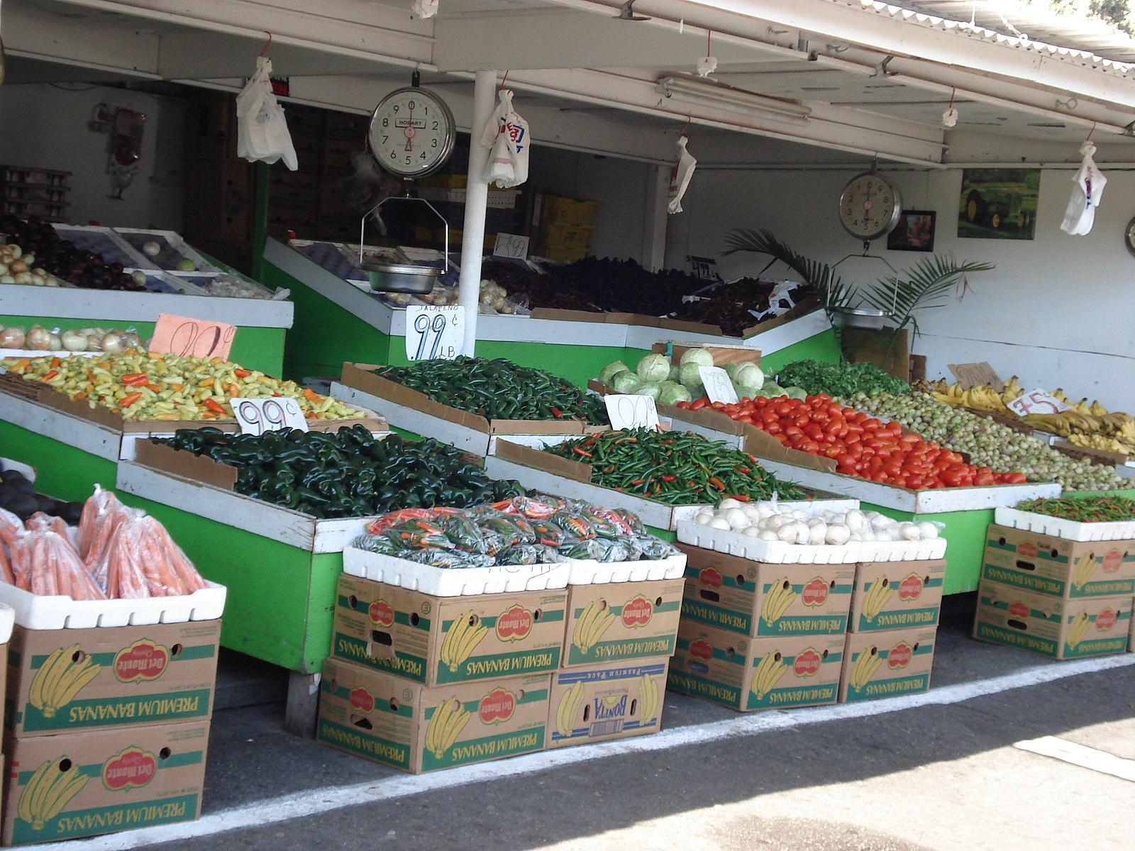 boxes of vegetables