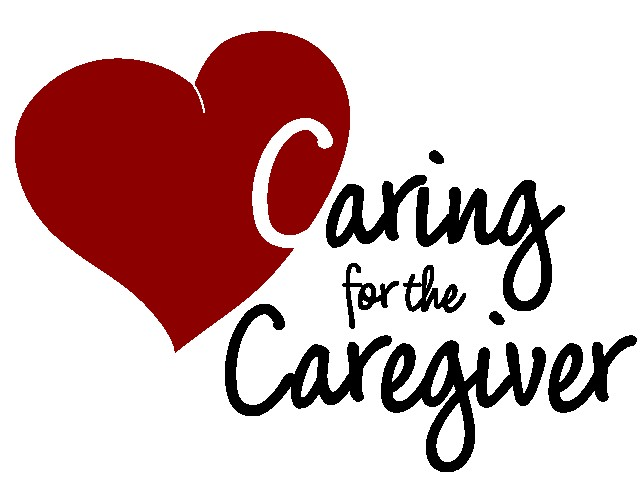 Caring for the caregiver text in a heart