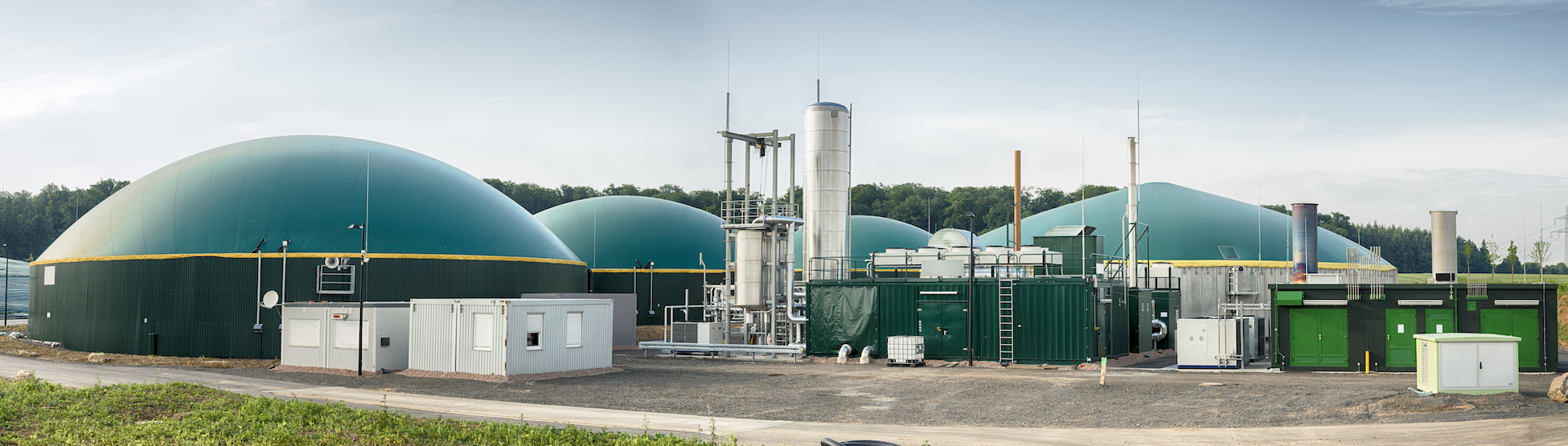 Panoramashot of a biogas plant in a rural landscape