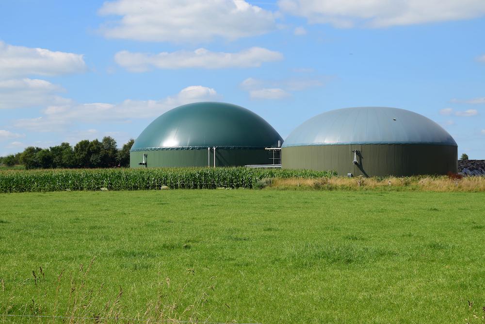 biogas plant near corn field