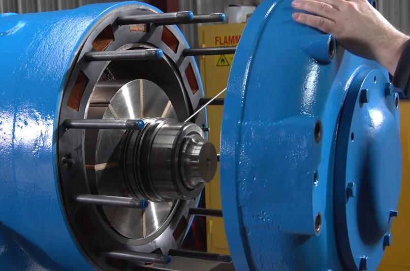 blue Rotary Sliding Vane Compressor undergoing maintenance