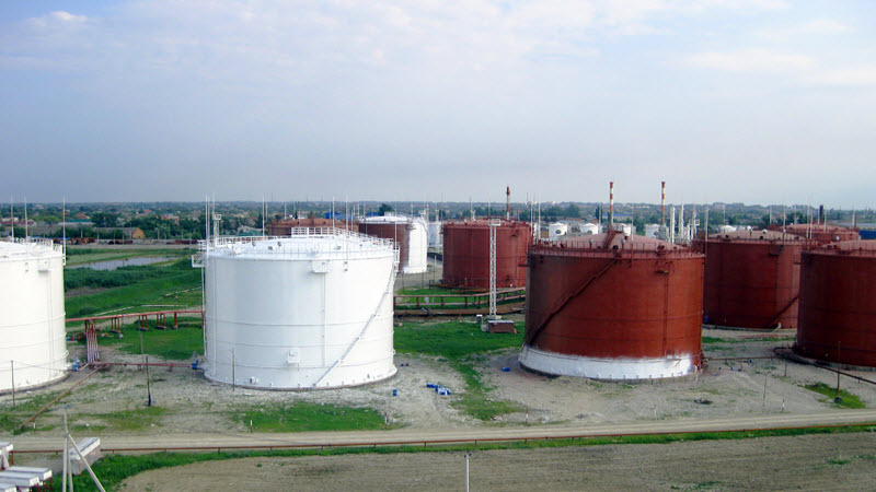 gas compressor tanks at a biogas plant