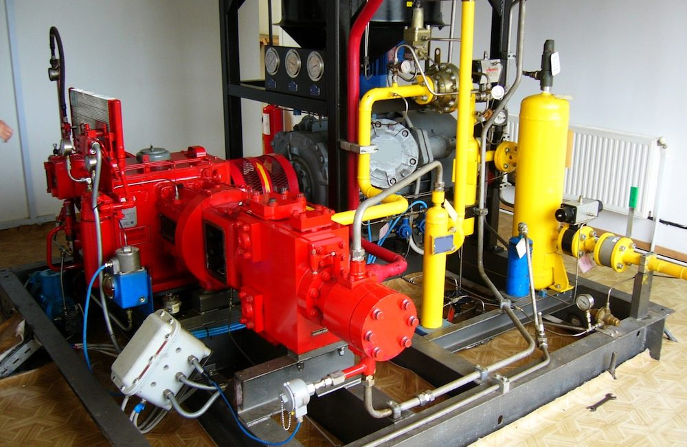 large rotary vane compressor installed inside a building