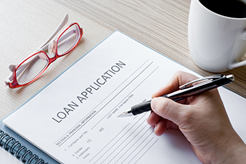 filling out loan application