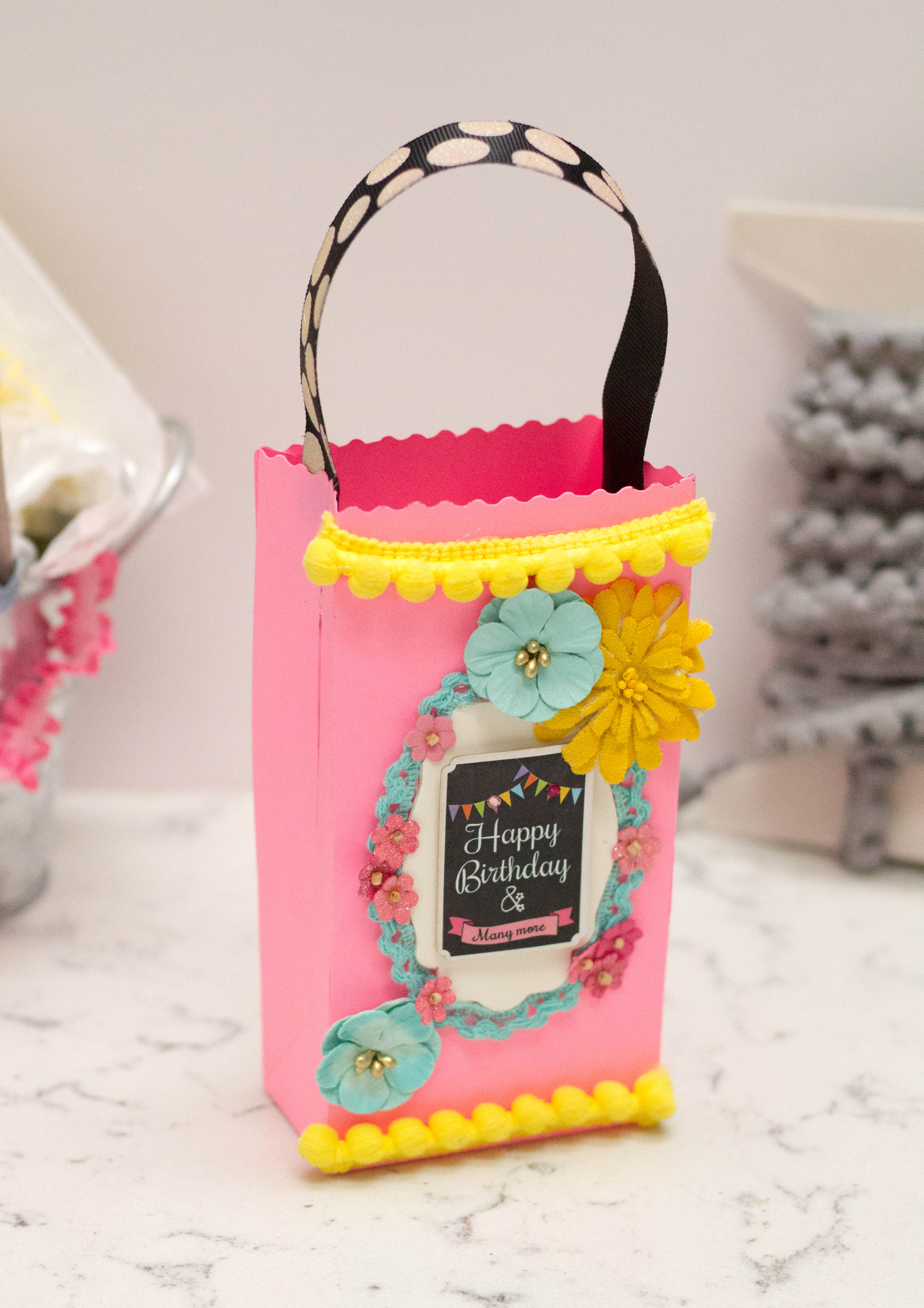 handmade paper gift bag with chalk label