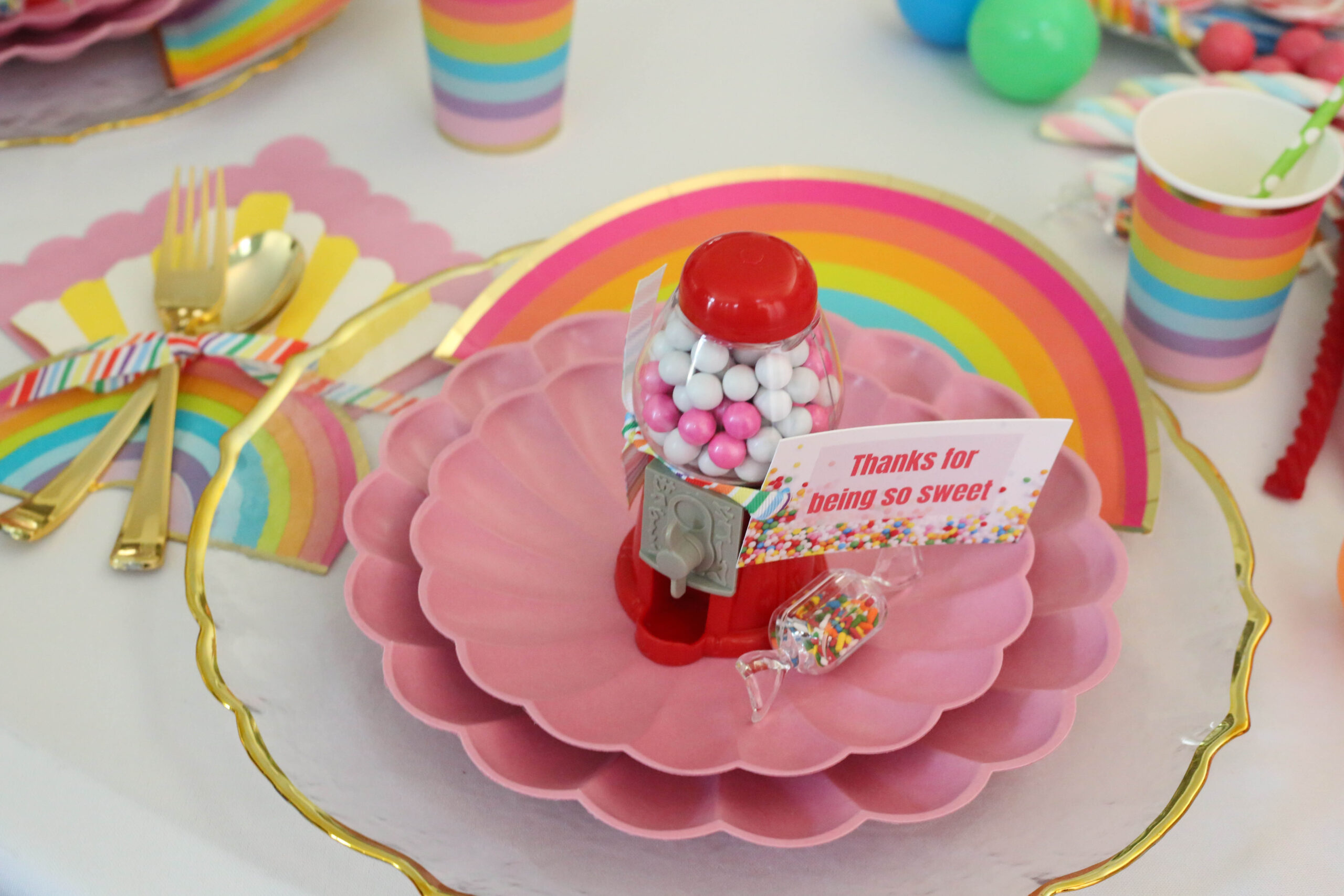mini gumball machine party favor with printable thank you tag