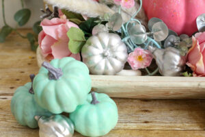 silver pinecones and gourds