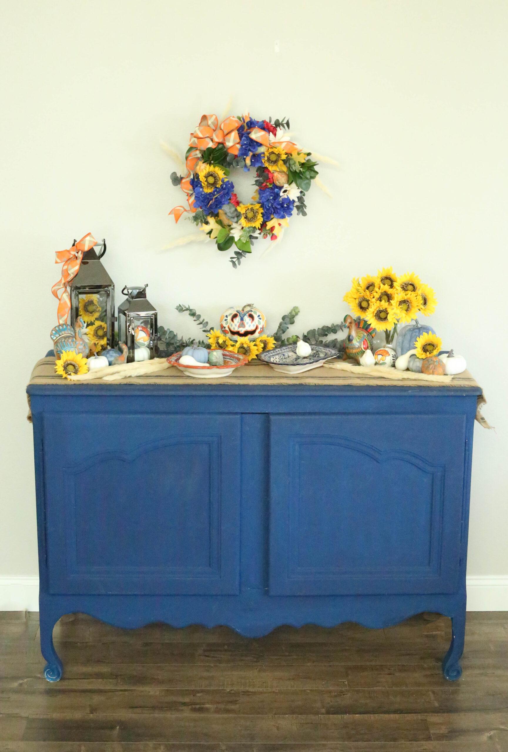 cobalt blue buffet with thanksgiving decor
