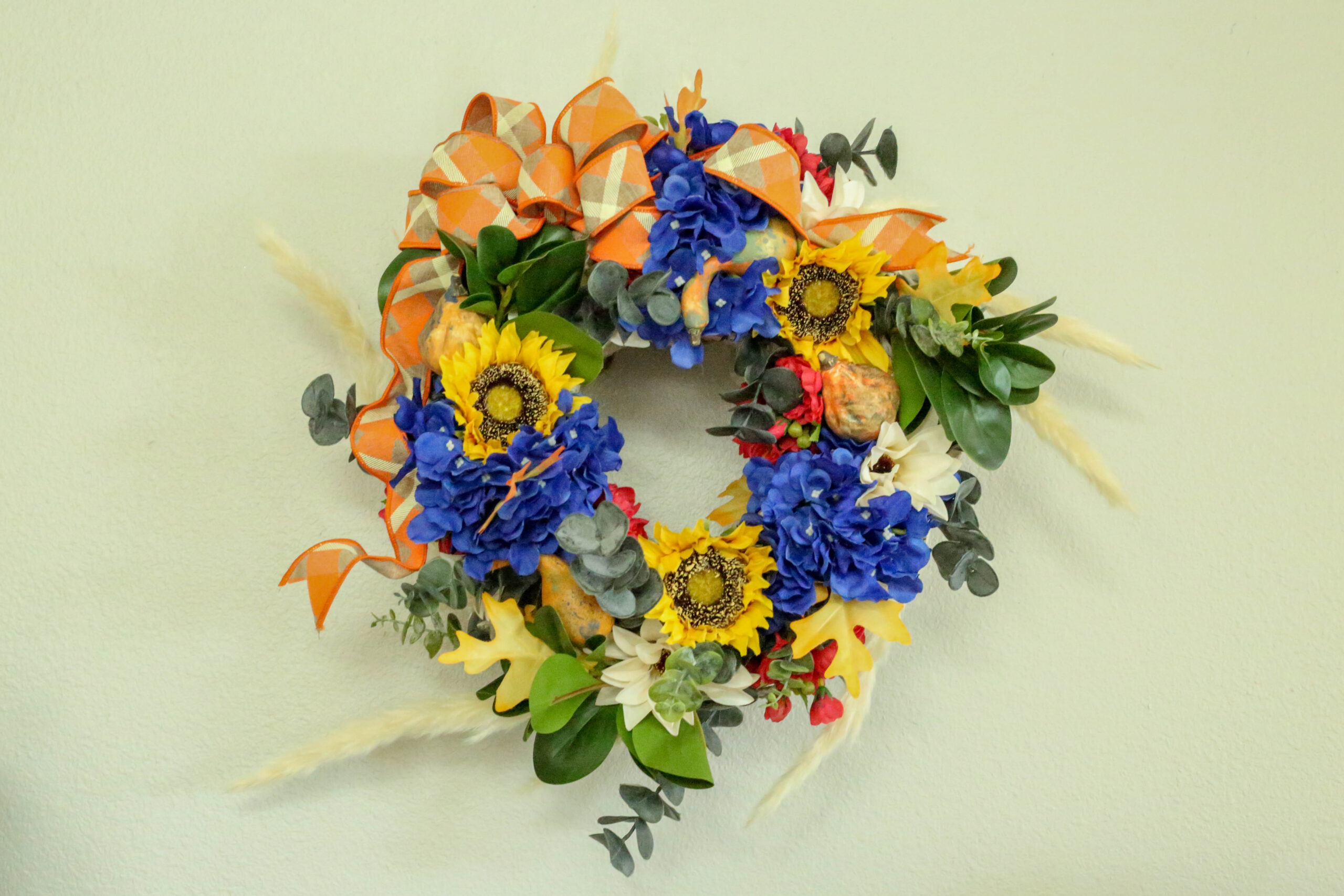 fall wreath with florals