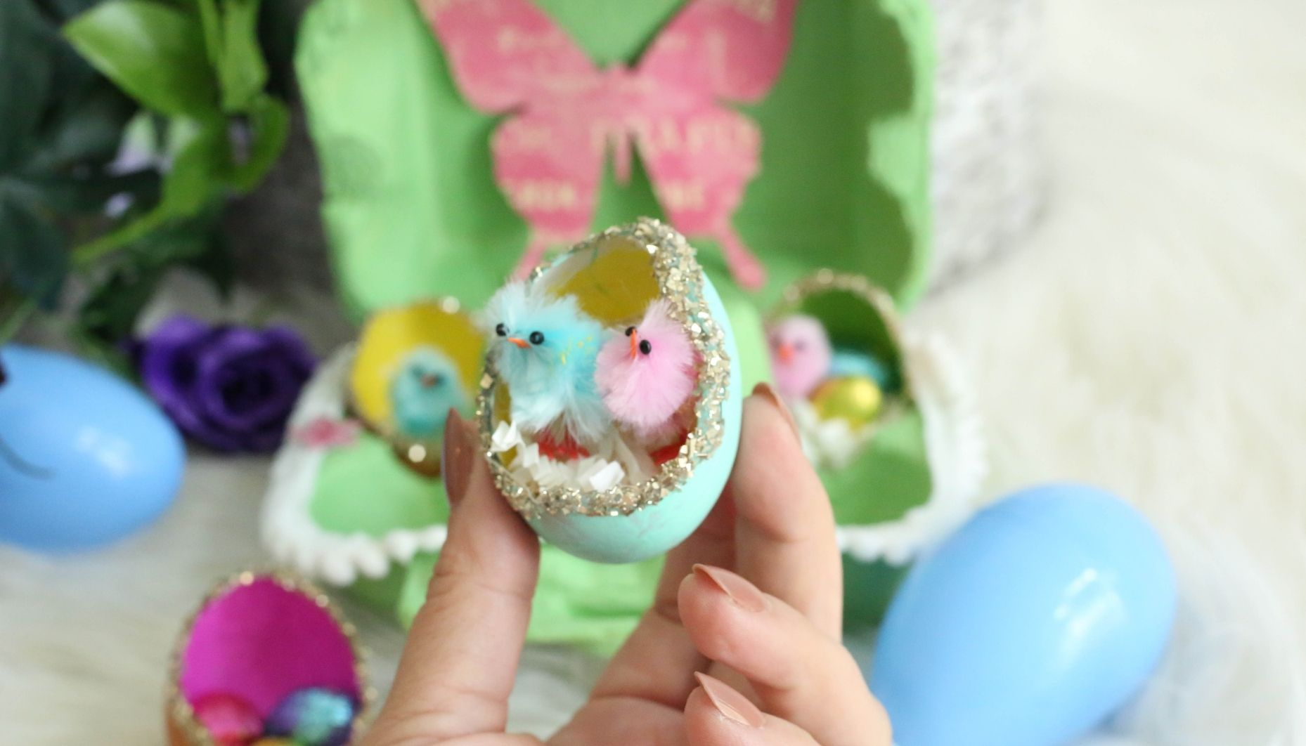 easter eggs painted with chicks