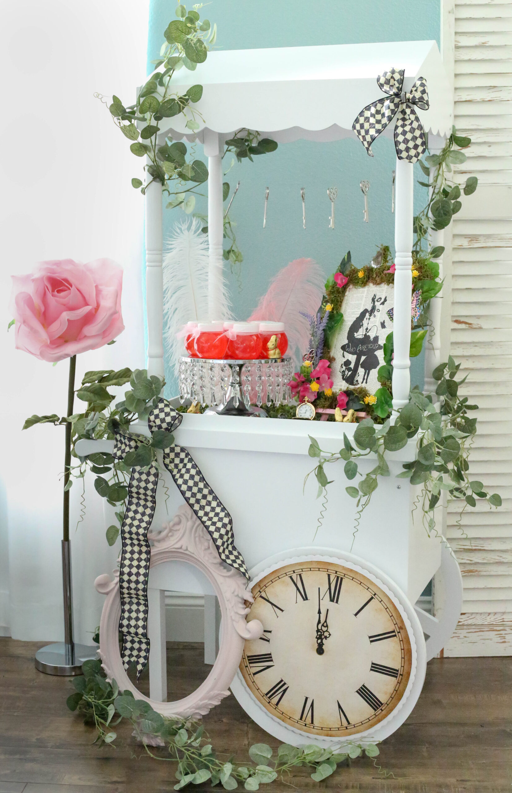 wood candy cart with easter treats