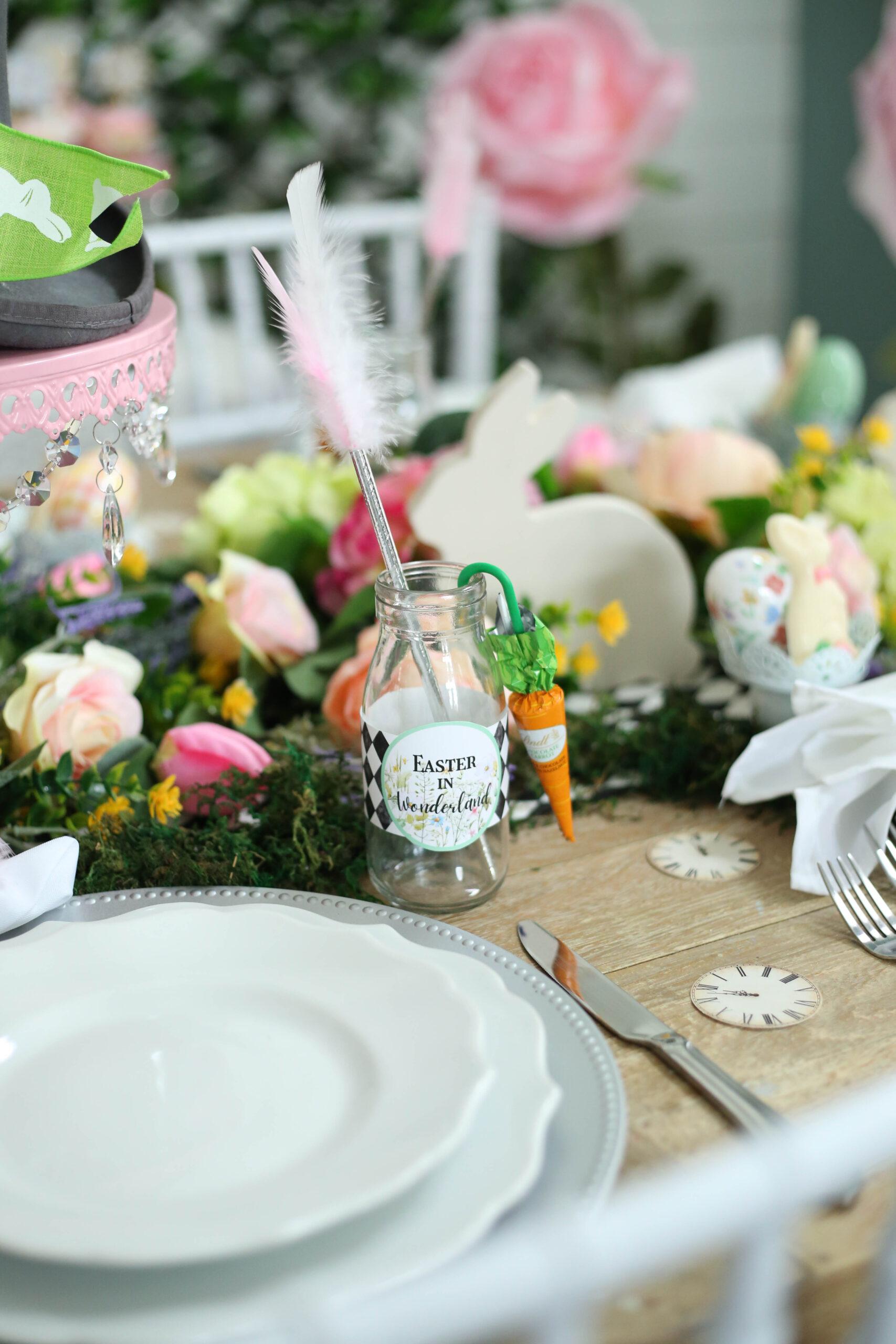 custom bottle wraps for easter in wonderland party