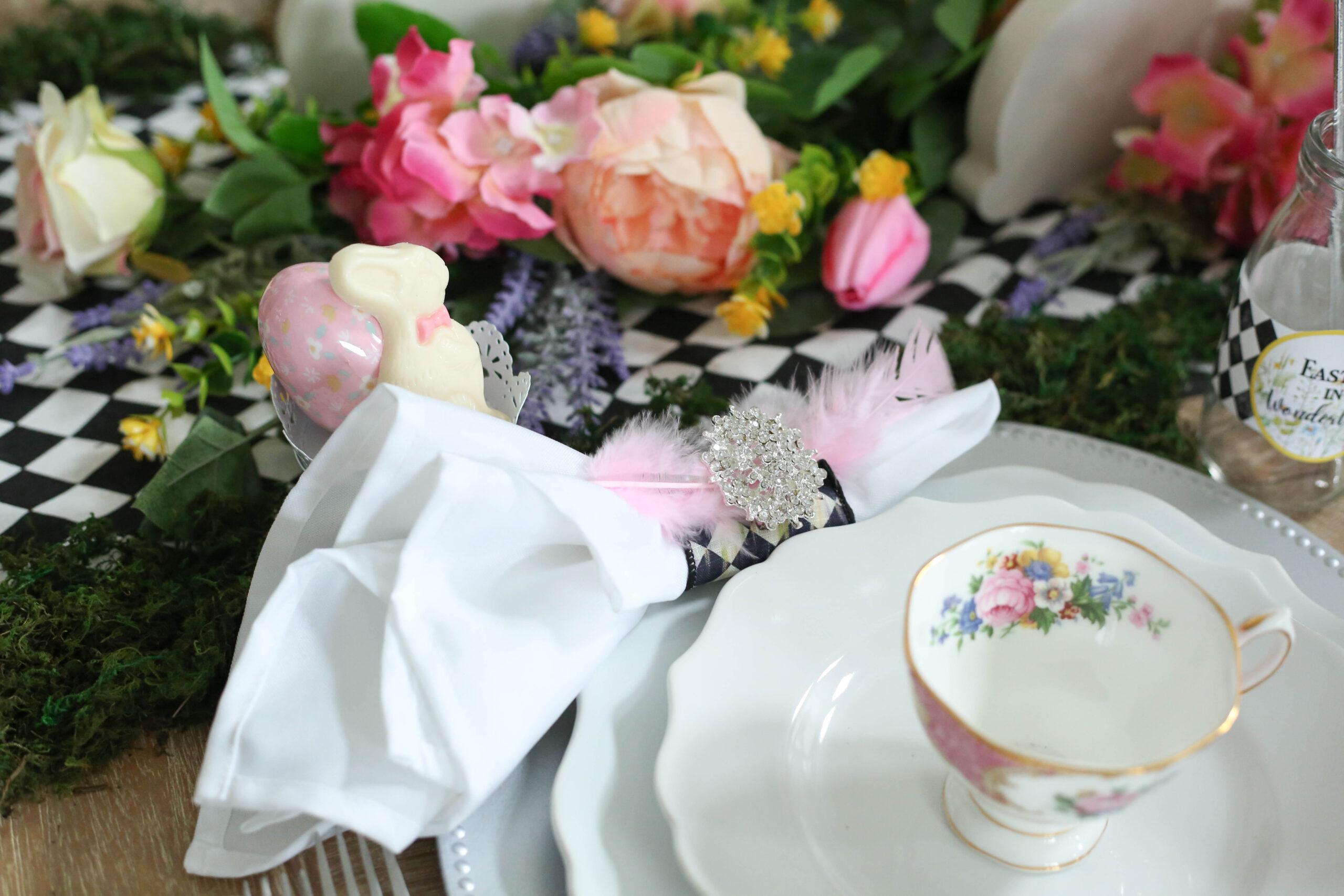 custom napkin rings for easter in wonderland