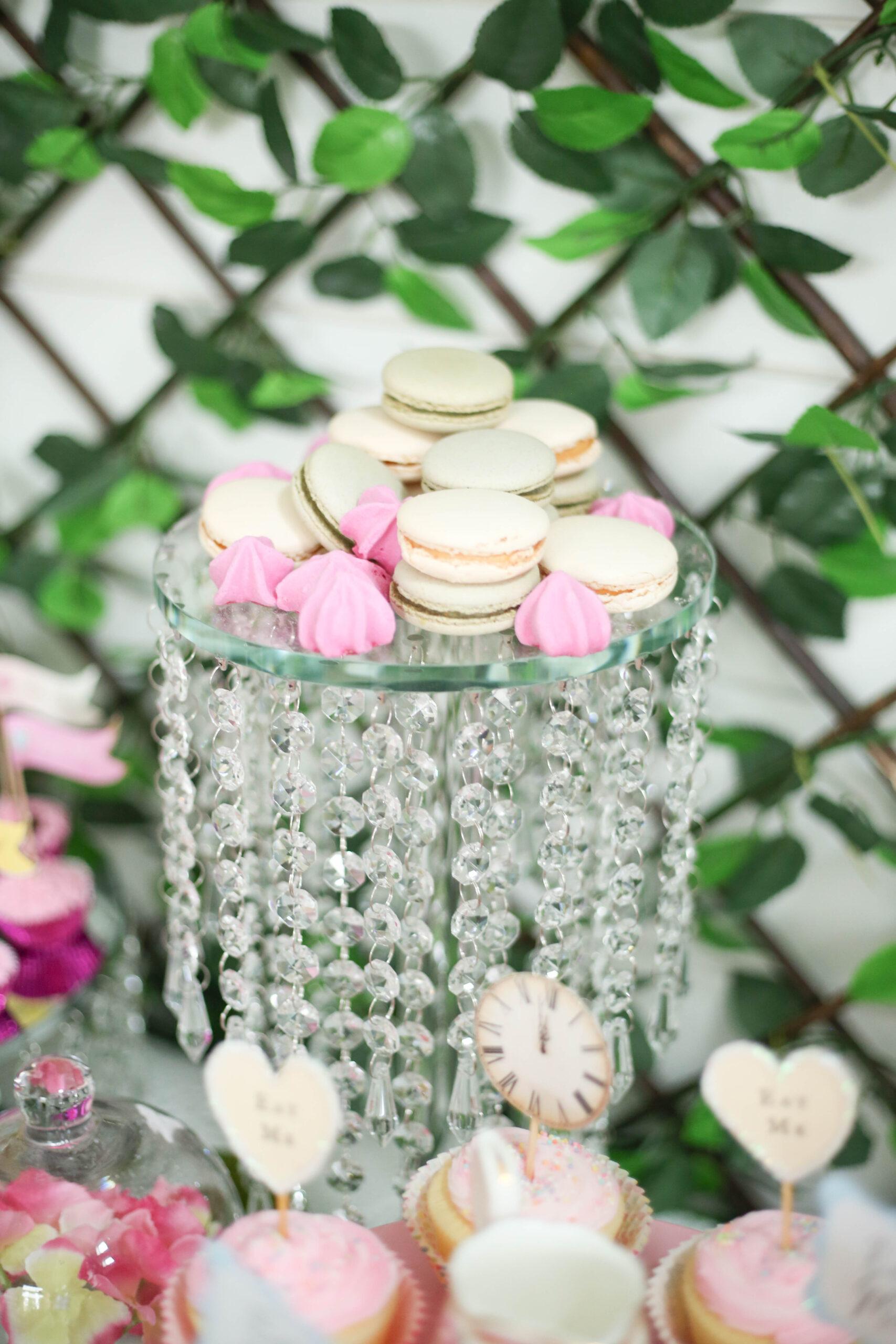 crystal cake stand with macarons