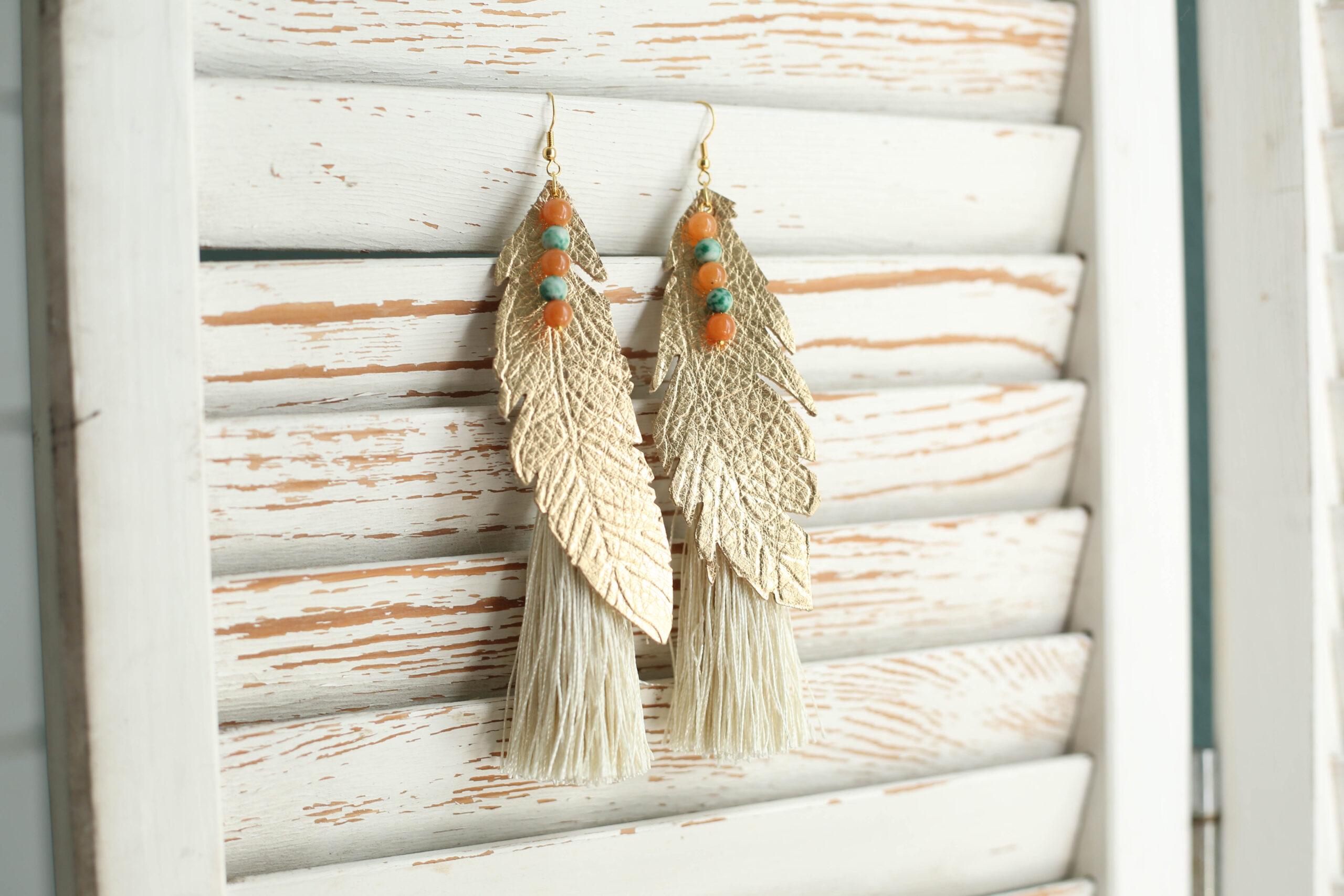 boho feather and tassel earrings