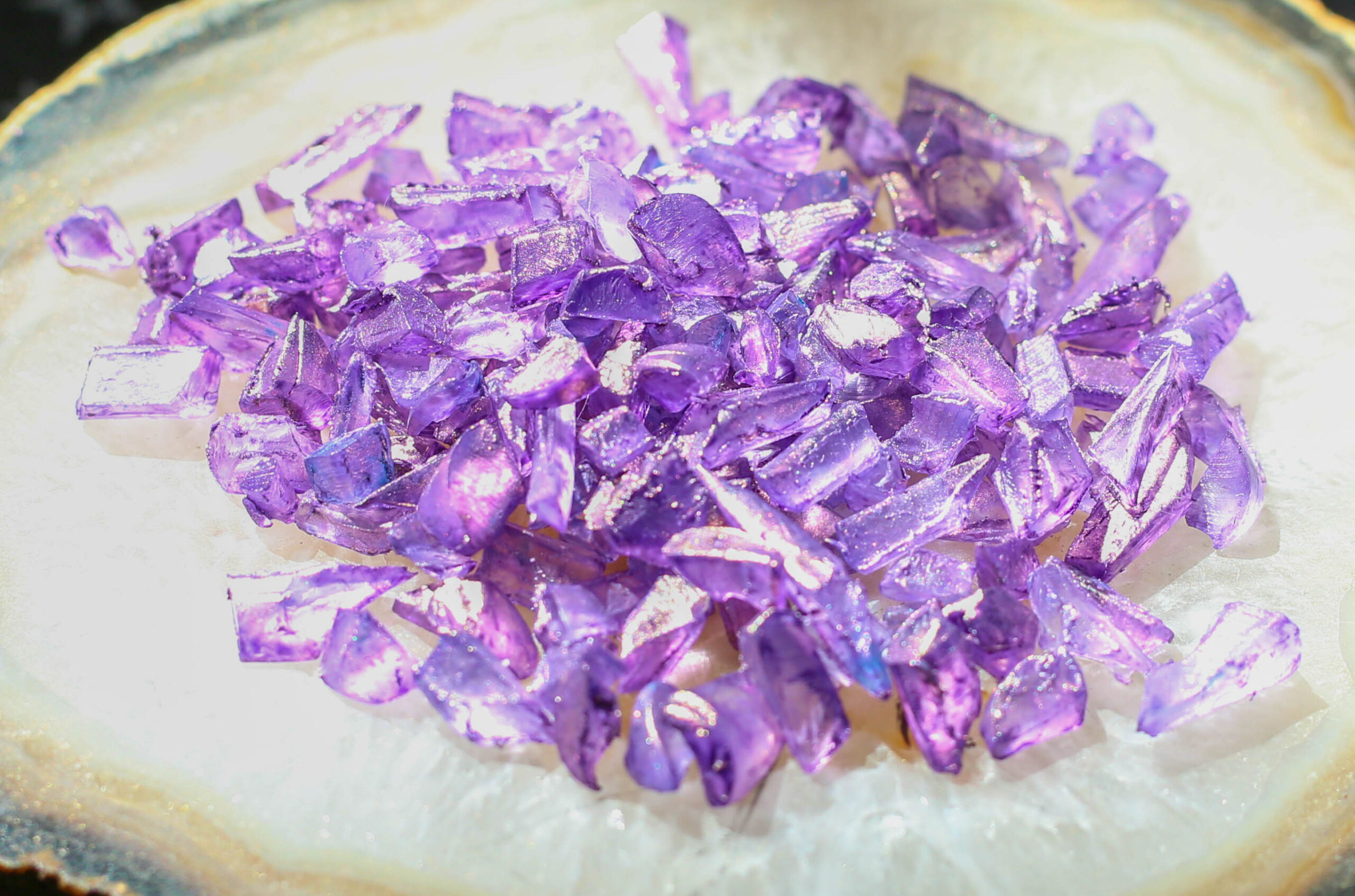 faux amethyst crystals made with FolkArt Color Shift Paint