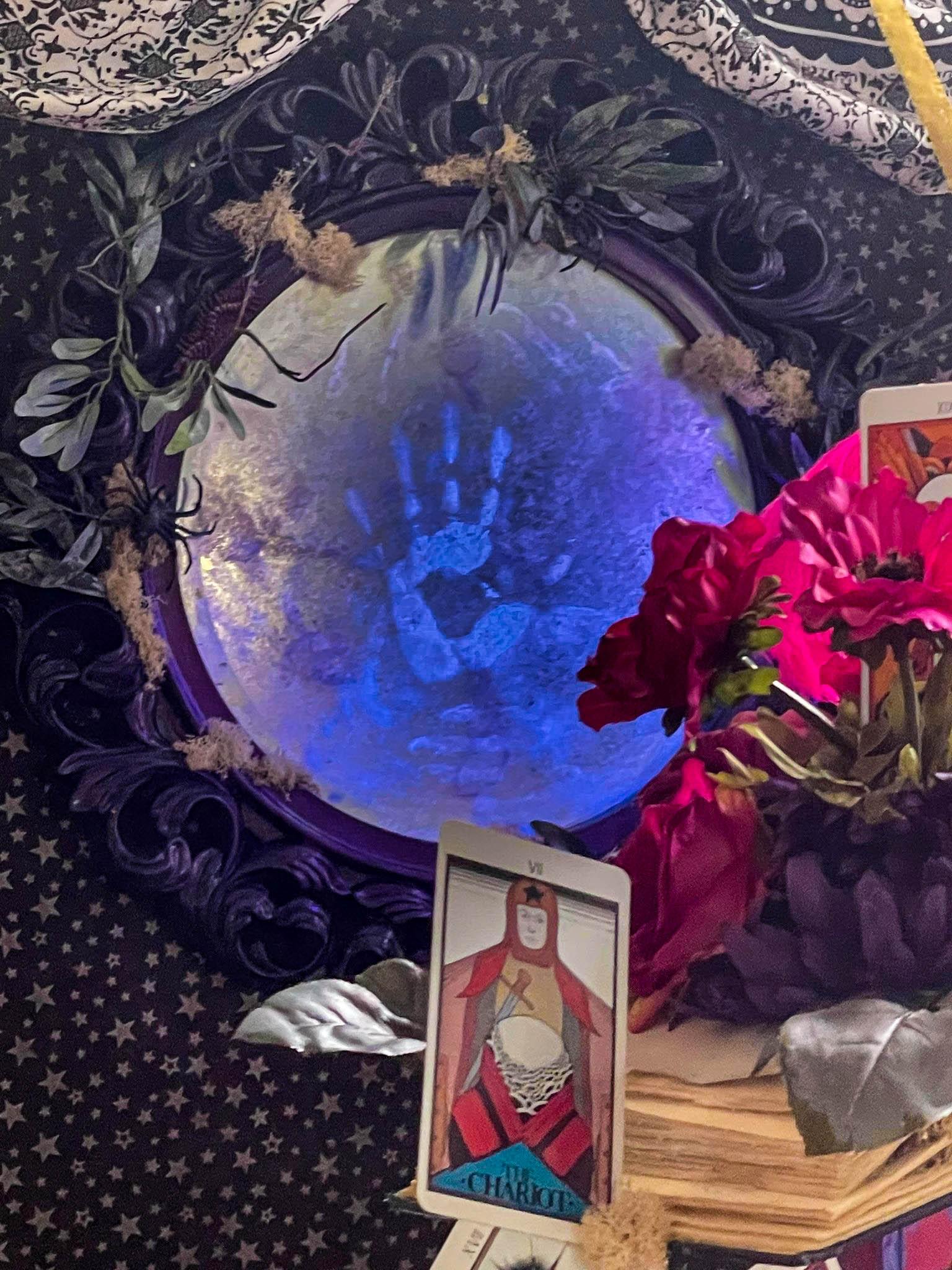 haunted mirror with black light mod podge